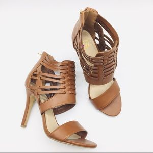 Brown Heels Sandals Basketweave Back Zip Sz. 6.5